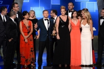 The team of Shark Tank accepts their award at the 2015 Creative Arts Emmys.