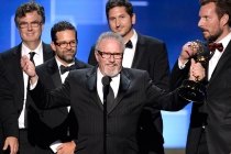 The team of Deadliest Catch accepts their award at the 2015 Creative Arts Emmys.