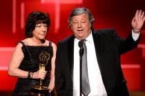 Karen Goodman and Kirk Simon accept their award at the 2015 Creative Arts Emmys.