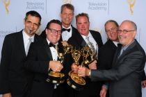 Serge Popovic, Stephen A. Tibbo, William Munroe, Brian R. Harman, Dean Okrand, and David Michael Torres backstage at the 2015 Creative Arts Emmys.