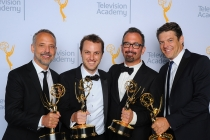 EXCLUSIVE - Marc Smerling, from left, Zac Stuart-Pontier, Andrew Jarecki, and Jason Blum backstage at the 2015 Creative Arts Emmy Awards.