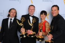 Ronan Hill, from left, Richard Dyer, Onnalee Blank, and Mathew Waters backstage at the 2015 Creative Arts Emmy Awards.