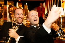 Mark Paterson and Tim Farrell backstage at the 2015 Creative Arts Emmys.
