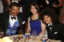 Neil deGrasse Tyson, wife, Alice Young, and son Travis Tyson attend the 2015 Creative Arts Ball.