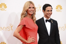 Heidi Klum and Zac Posen of Project Runway arrive at the 66th Emmy Awards.