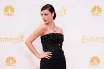 Jessica Pare of Mad Men arrives at the 66th Emmy Awards.