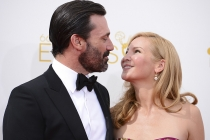 Jon Hamm of Mad Men and Jennifer Westfeldt arrive at the 66th Emmy Awards.