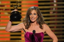 Allison Janney of Mom accepts an award at the 66th Emmys.
