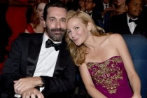 Jon Hamm (l) of Mad Men and Jennifer Westfeldt (r) at the 66th Emmys.