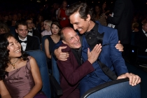 Woody Harrelson (l) and Matthew McConaughey (r) of True Detective at the 66th Emmy Awards.