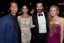 (From left) Matthew McConaughey, Camila Alves, Jon Hamm, and Jennifer Westfeldt at the 66th Emmy Awards.