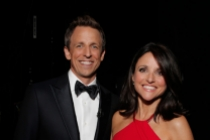 Seth Meyers (l) of Late Night with Seth Meyers and Julia-Louis Dreyfus of Veep at the 66th Emmy Awards.