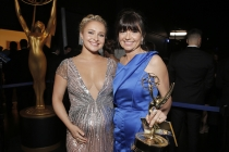 Hayden Panettiere (l) of Nashville and director Gail Mancuso (r) of Modern Family  at the 66th Emmys.