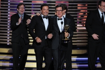 Jimmy Fallon (l) of The Tonight Show Starring Jimmy Fallon and Stephen Colbert (r) of The Colbert Report at the 66th Emmy Awards.