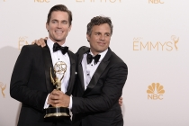 Matt Bomer (l) and Mark Ruffalo (r) of The Normal Heart celebrate at the 66th Emmy Awards.