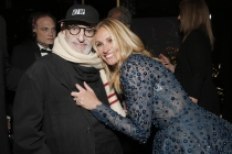 Larry Kramer (l) and Julia Roberts (r) of The Normal Heart backstage at the 66th Emmys.