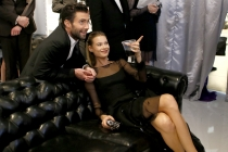 Adam Levine (l) of The Voice and Behati Prinsloo at the 66th Emmy Awards.