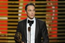 Jim Parsons of The Big Bang Theory accepts an award at the 66th Emmy Awards.