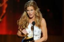 Anna Gunn of Breaking Bad accepts an award at the 66th Emmy Awards.