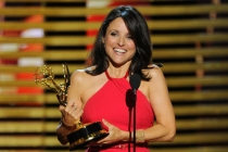 Julia Louis-Dreyfus of Veep accepts an award at the 66th Emmy Awards.