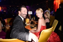 Jon Hamm (l) and January Jones (r) of Mad Men at the 66th Emmys Governors Ball.