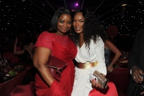 Octavia Spencer (l) and Angela Bassett (r) of American Horror Story attend the 66th Emmys Governors Ball.