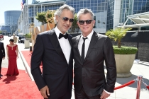 Andrea Bocelli and David Foster on the red carpet at the 67th Emmy Awards.