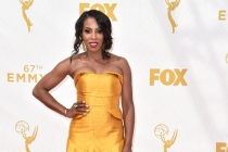 June Ambrose on the red carpet at the 67th Emmy Awards.