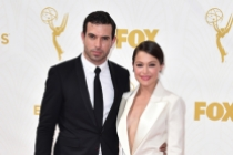 Tom Cullen and Tatiana Maslany on the red carpet at the 67th Emmy Awards.
