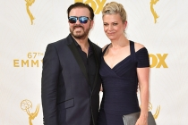 Ricky Gervais and Jane Fallon on the red carpet at the 67th Emmy Awards.