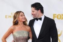Sofia Vergara and Joe Manganiello on the red carpet at the 67th Emmy Awards.