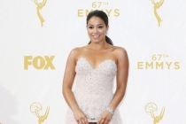 Gina Rodriguez on the red carpet at the 67th Emmy Awards.