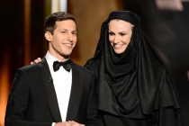 Andy Samberg and Jane Lynch at the 67th Emmy Awards.