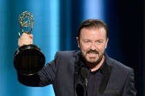 Ricky Gervais presents an award at the 67th Emmy Awards.