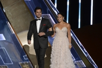 John Stamos and Gina Rodriguez at the 67th Primetime Emmy Awards.