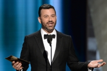 Jimmy Kimmel presents award at the 67th Emmy Awards.