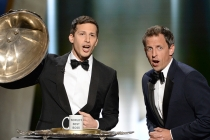 Andy Samberg and Seth Meyers at the 67th Emmy Awards.