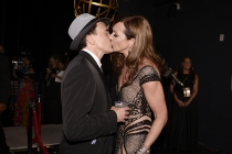 Bradley Whitford and Allison Janney backstage at the 67th Emmy Awards.