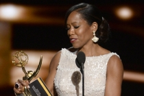Regina King accepts her award at the 67th Emmy Awards.