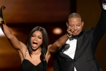 Taraji P. Henson and Terrence Howard present an award at the 67th Emmy Awards.