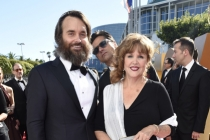 Will Forte, John Stamos and Patricia C. Forte on the red carpet at the 67th Emmy Awards.