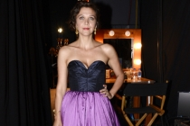Maggie Gyllenhaal backstage at the 67th Emmy Awards.