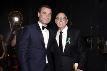 Liev Schreiber and Jeffrey Tambor backstage at the 67th Emmy Awards.