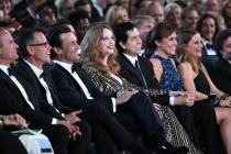 Jon Hamm, Christina Hendricks and Geoffrey Arend at the 67th Emmy Awards.