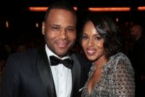 Anthony Anderson and Kerry Washington at the 67th Emmy Awards.
