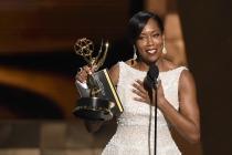 Regina King accepts an award at the 67th Emmy Awards.