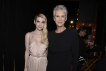 Emma Roberts and Jamie Lee Curtis backstage at the 67th Emmy Awards.