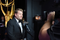 James Corden backstage at the 67th Emmy Awards.
