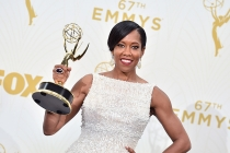 Regina King backstage at the 67th Emmy Awards.