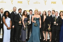 "Amy Schumer and the team from ""Inside Amy Schumer"" backstage at the 67th Emmy Awards."
